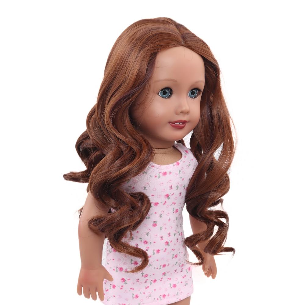 Aidolla 18inch American Doll Wig Medium-Length Curly Hair High Temperature Fiber Doll Accessories For Dolls DIY Making Supplie