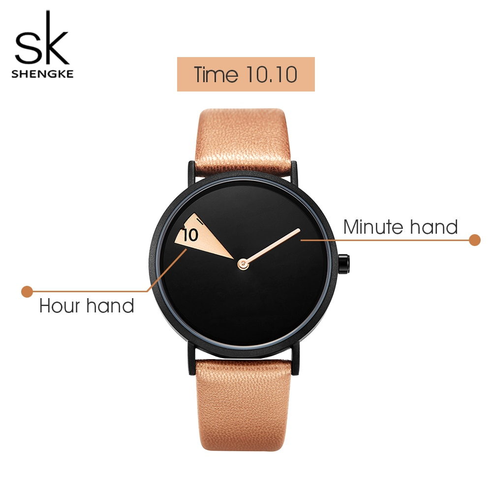 Shengke Creative Fashion Women Quartz Watch Rosegold Leather Montre Femme Brand Watches for Girl Gift Reloj Mujer+Gift Box enlarge