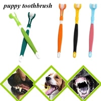 new pet toothbrush three head toothbrush multi angle cleaning addition bad breath tartar teeth care dog cat cleaning mouth