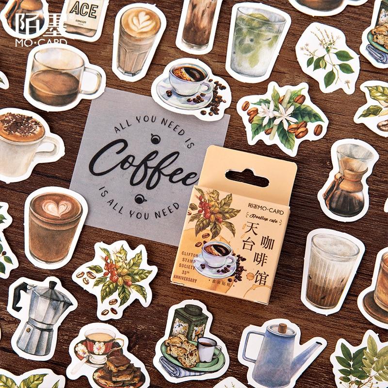 46 pcs/lot Rooftop Coffee Paper Small Diary Mini Cute box Stickers set Scrapbooking Kawaii Flakes Journal Stationery