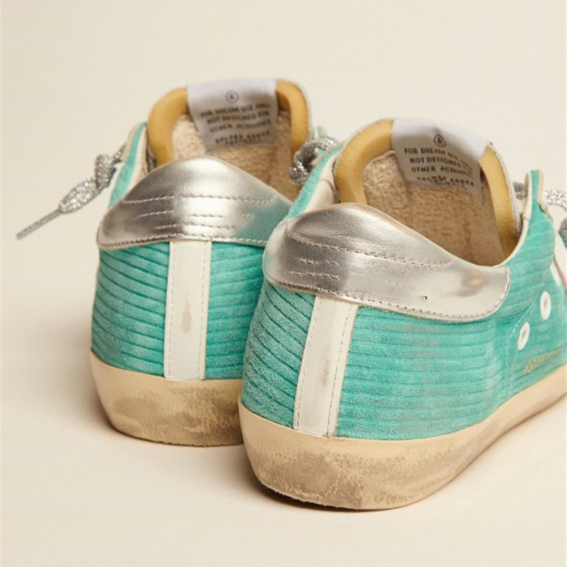 Autumn and Winter New Products Mint Color Flannel Parent-child Shoes Retro Distressed Small Dirty  Children's Casual Shoes QZ81 enlarge