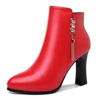 new fashion winter women boots high heel women shoes pu leather women pumps square heels women shoes zip 3 47