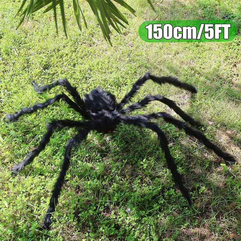 150cm Hairy Giant Spider Halloween Prop Haunted House Decor Huge Spider Web Bat Party Holiday DIY Decoration