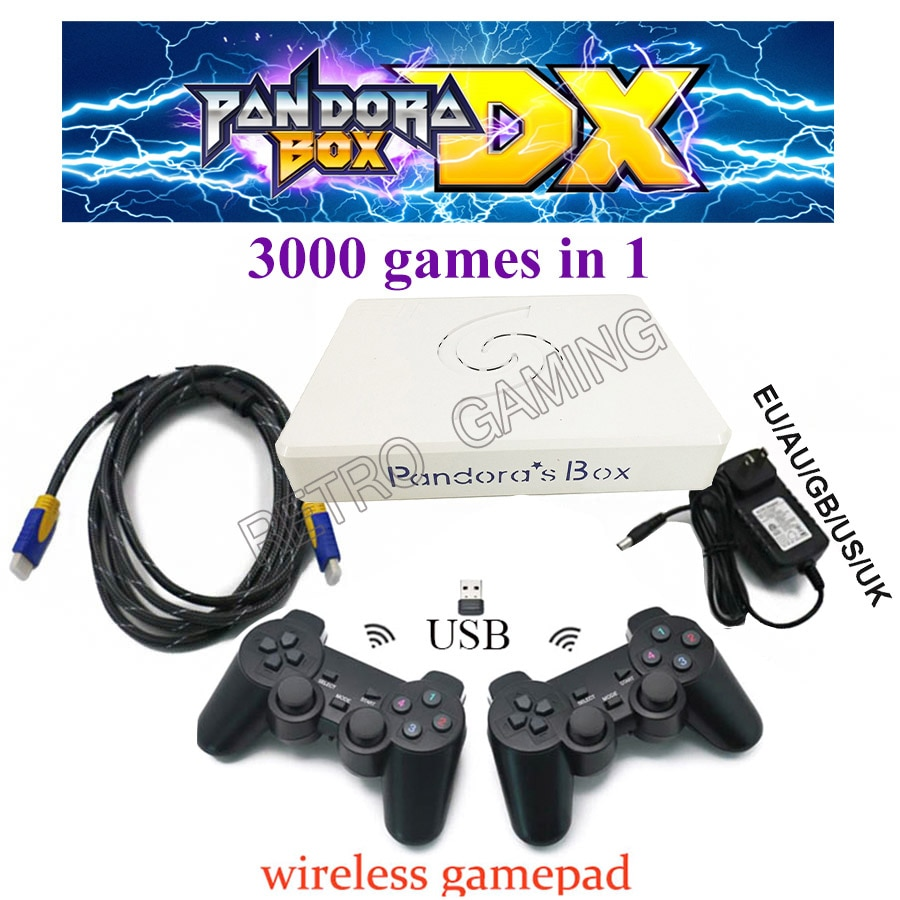 Pandora Box DX USB cableado y inalámbrico Gamepad Set 2 jugadores Joypad controlador Arcade PCB 3000 en 1 Guardar progreso del juego agregar 5000 juego