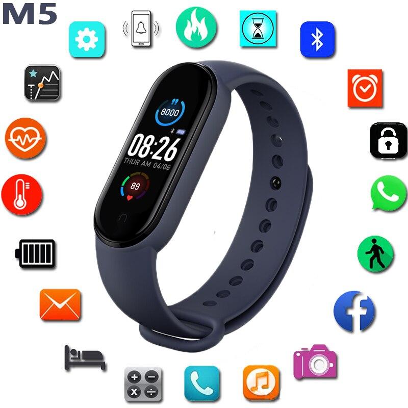 Monitor de Freqüência Rastreador de Fitness Reloj Pulseira Relógio Inteligente Masculino – Feminino Cardíaca Pressão Arterial Bluetooth Pulseiras Inteligentes Ios Android m5