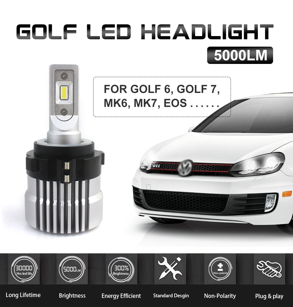 2pcs LED Headlight Bulb H7 5000lm With 7038 Chip Canbus Error Free For V-W Golf-6 Golf-7 Jetta DRL Low Beam Plug And Play 6500K