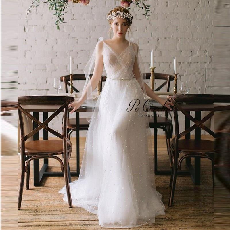 PEORCHID Simple Long Beach Bridal Gowns Tulle A Line V Neck Pearls Lace Bohemian Wedding Dresses vestidos de novia 2020
