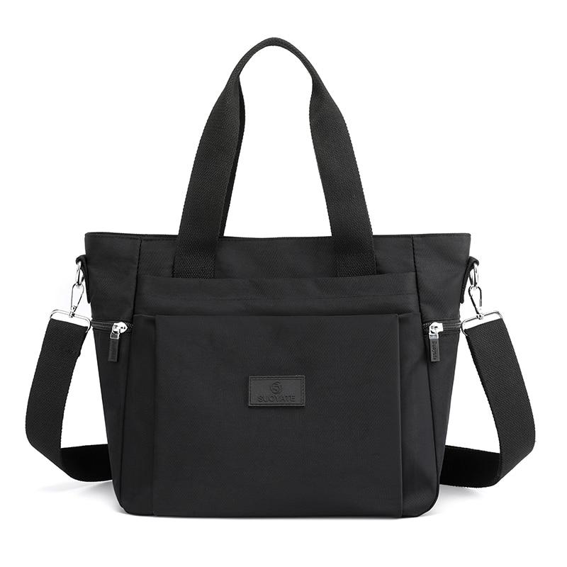 Nylon Shoulder Bags For Women 2021 Fashion Solid Color Casual Tote Large Capacity Black Crossbody Bag Soft Zipper Travel Handbag