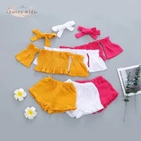 2021 summer baby girls outfits 3pcs off shoulder highly elastic tops shorts pants trousers headband solid children clothes 1 6t