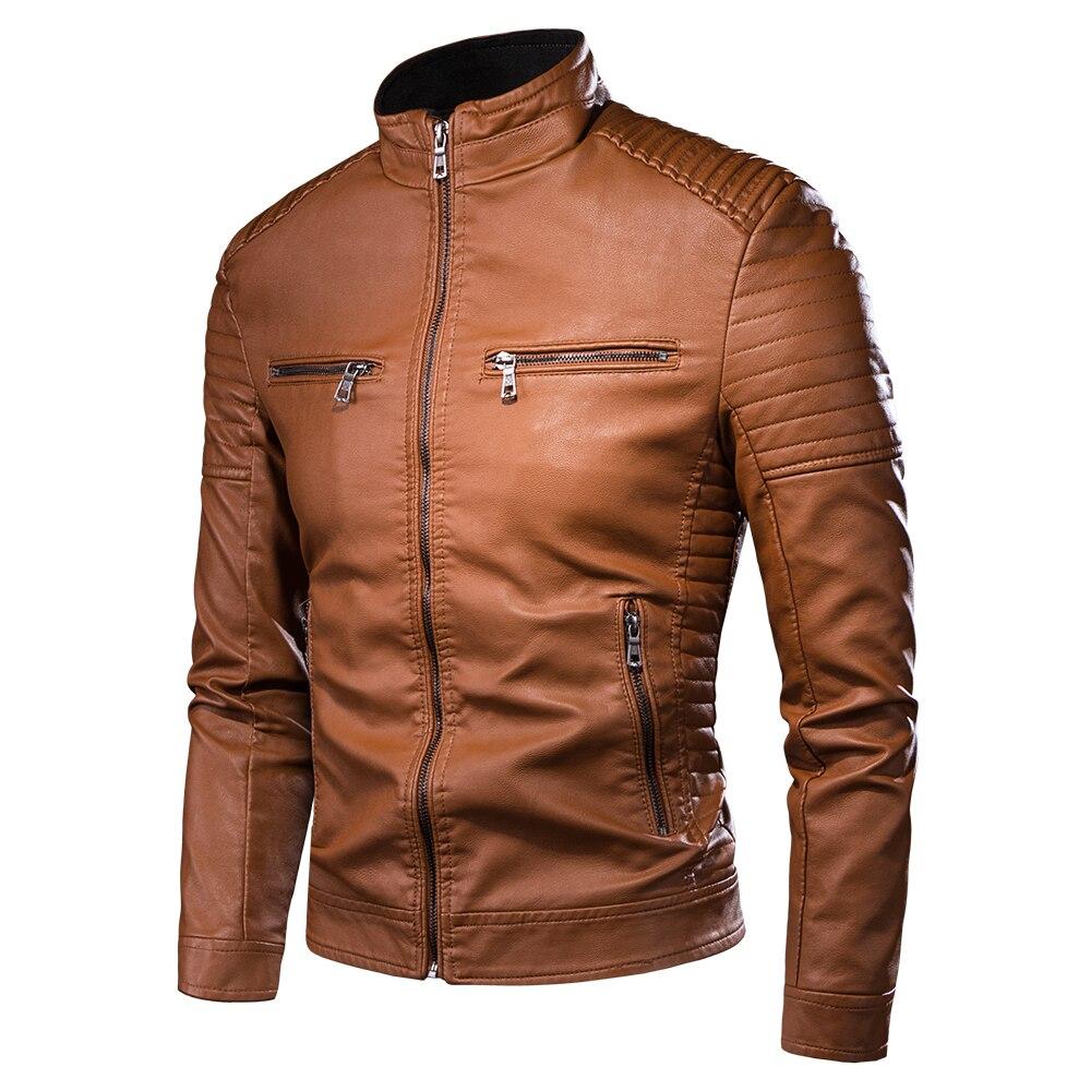 Spring New Motorcycle Men Causal Vintage Leather Jacket Coat Men Autumn Outfit Fashion Biker Pocket Design PU Leather Jacket Men