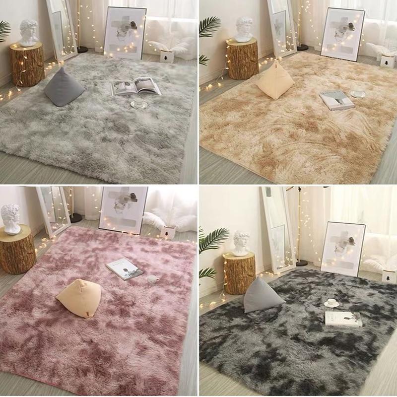 Nordic Solid Pile Plush Carpet Rugs For Living Room Large Size Anti-Slip Bedroom/Study/corridor Soft Carpets Child Bedroom Mats