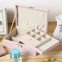 2 big layers jewelry box necklace ring earrings holder jewelry casket organizer jewelry organizer display travel case boxes