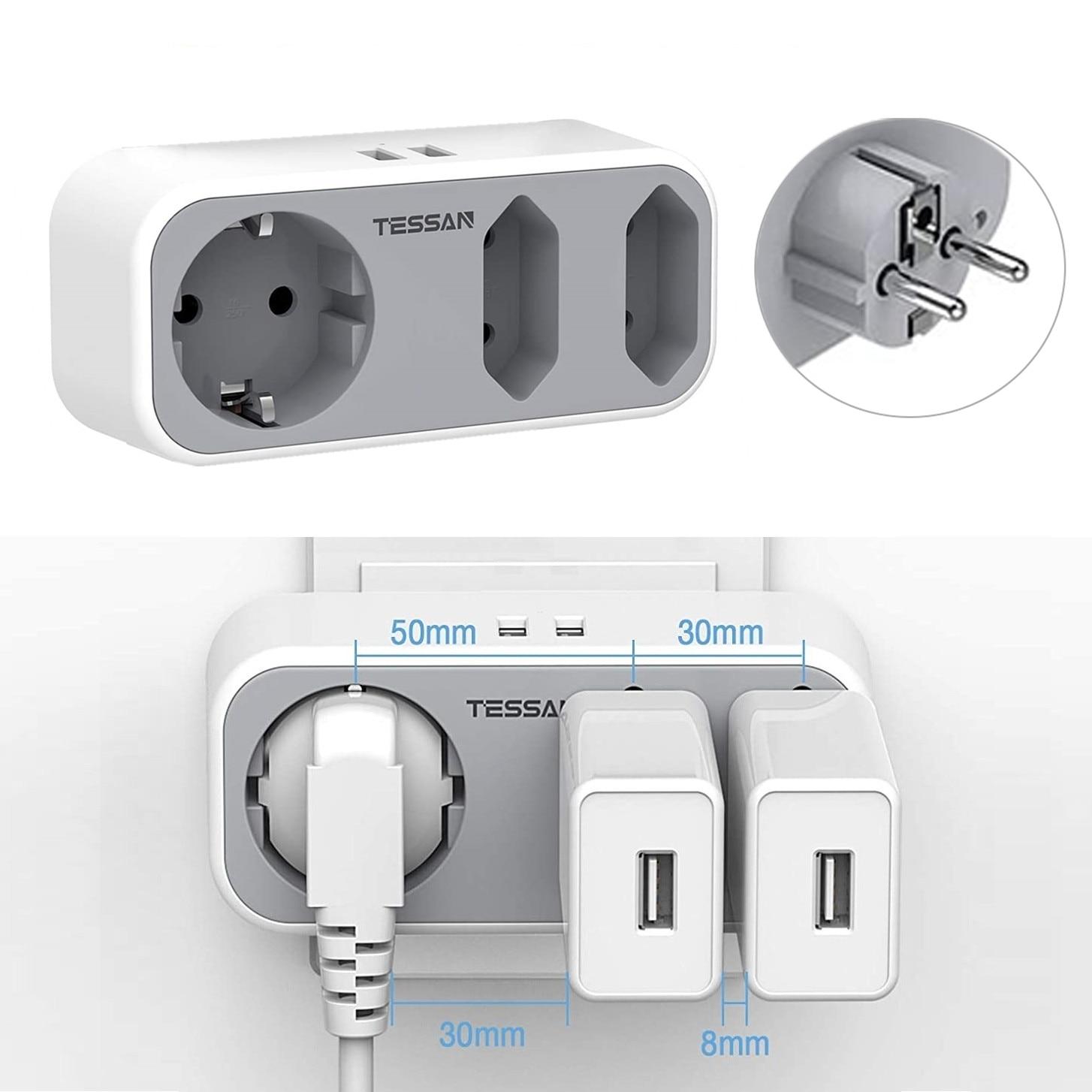 TESSAN-Alargador de Enchufe eléctrico portátil, 3 salidas y 2 salidas de salida...