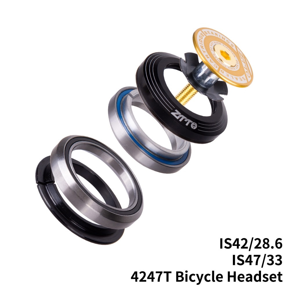 "4247T CNC MTB bicicleta de carretera cojinete de bicicleta auriculares 42mm 47mm 1 1/8 ""-1 1/4"" horquilla de tubo cónico IS42 IS47 contacto Angular integrado"