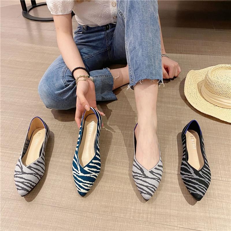 2021 Women's Flat Shoes Woman Knit Pointed Ballet Mixed Color Soft Pregnant Zapatos De Chaussure Fem