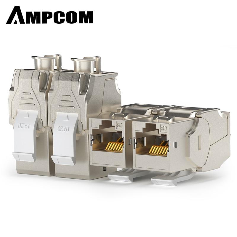 AMPCOM 2pcs CAT8 Keystone Jack Connectors Network RJ45 Module Socket Full Shielded TOOLLESS Type 40G 550MHz/2000MHz PoE/PoE+100W