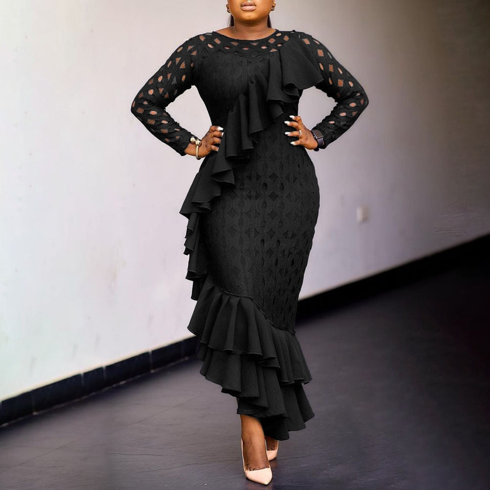 5XL Formal Evening Party Dress Women Long Sleeve Cut Out Mesh Sexy Bodycon Long Dresses 2021 Oversize African Fashion Elegant