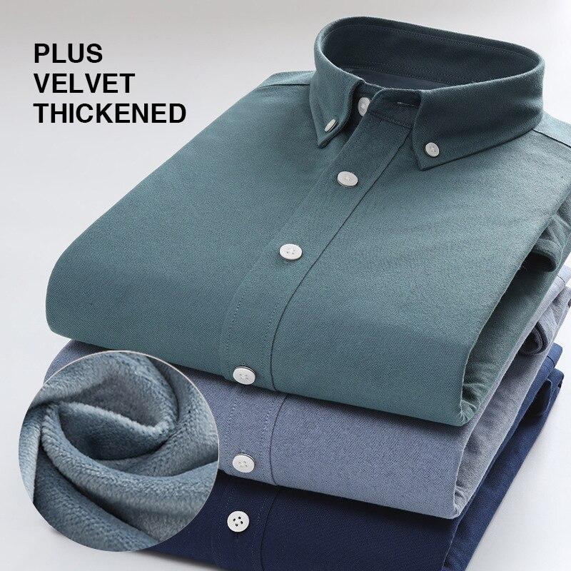 Осенне-зимняя мужская рубашка, теплая однотонная Повседневная деловая рубашка, Мужская модная рубашка с длинным рукавом, мужская рубашка, б...