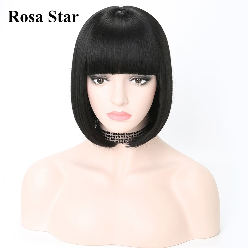Rosa Star 12 Inches Straight Short Bob Hair Wigs With Bangs For Women Synthetic Hair Naturl Daily Cosplay Custom Wigs