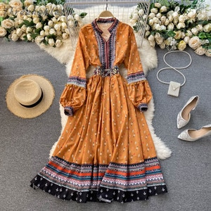 Summer New Retro Court Wind Women Print Dress Chic Embroidery Puff Sleeve A-line Dresses Spring Boho Casual Vacation Long Dress