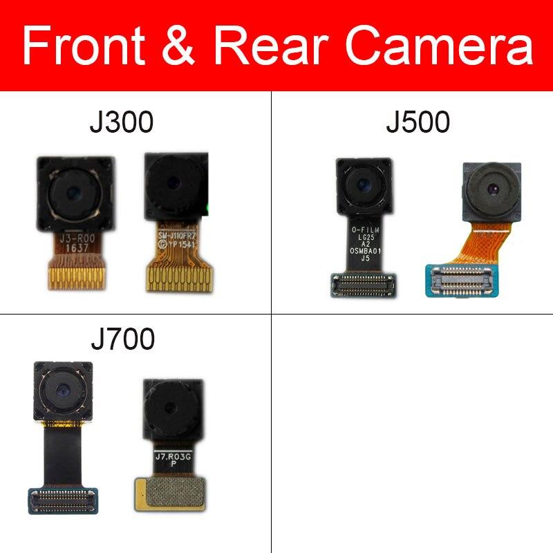Cámara trasera principal para Samsung Galaxy J3 2015 J300 J500 J700 cámara trasera con Cable flexible frontal modelo 100% piezas de reparación probadas