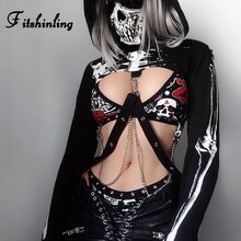 Fitshinling skull print 고딕 여성 후드 티 스웨터 하라주쿠 슬림 자른 후드 블랙 슬림 가을 sudadera mujer sale