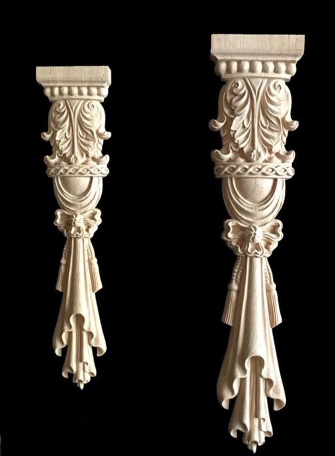 2Pieces 38x8cm  European Style Furniture Stigma Rome Column Carved Wood Decoration 10pcs lot 5x5cm home furnishing embossed decoration european style wooden furniture decals