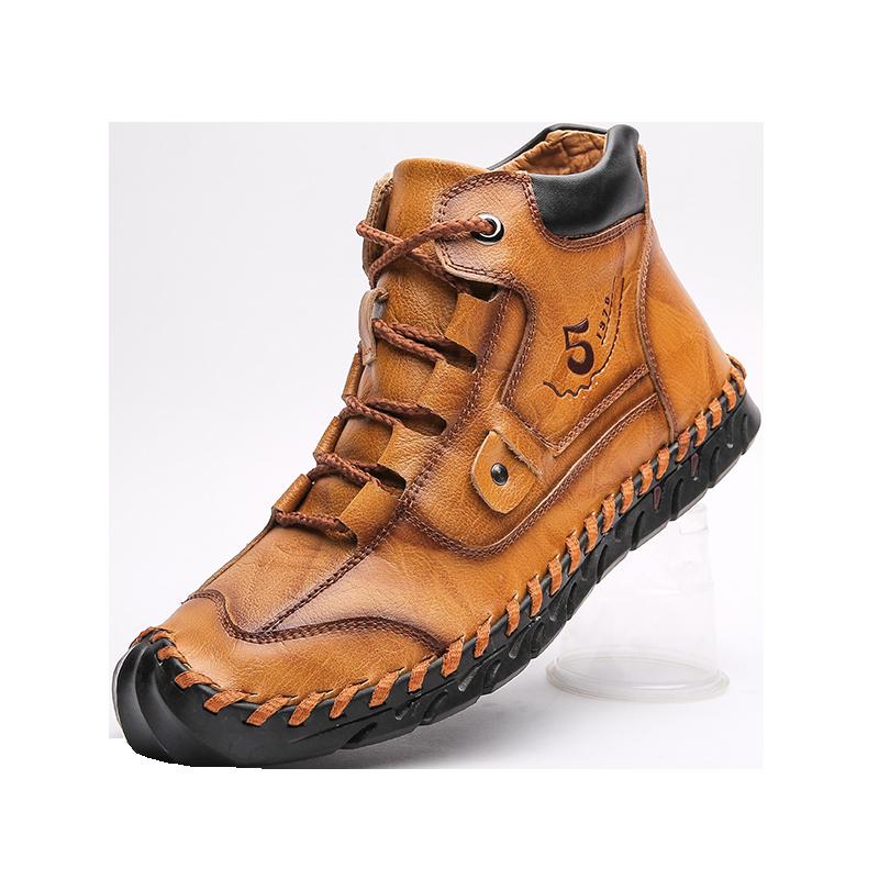 حذاء موكاسين جلد خفيف الوزن ومسامي ، حذاء كاجوال ، حذاء موكاسين ، جلد ، صناعة يدوية ، مقاس كبير ، 38 إلى 48 ، خريف/شتاء