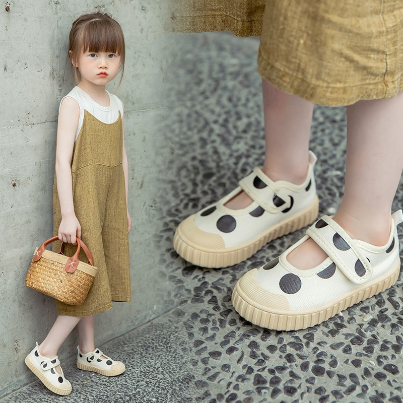 Children's Wave Point Soft-soled Casual Shoes 2021 Spring Autumn  Baby School Cloth Shoes Girls Sing