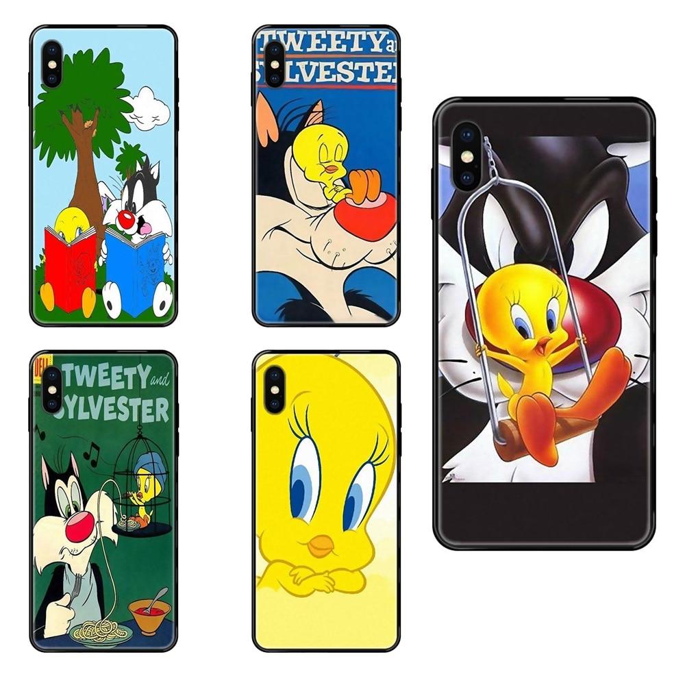 Servir Sylvester Tweety Soft Black TPU Capa Case Capa Para Galaxy A10S A20 A20S A20E A21S A30 A30S A40 A50 A70 A71 A70E A5 A6