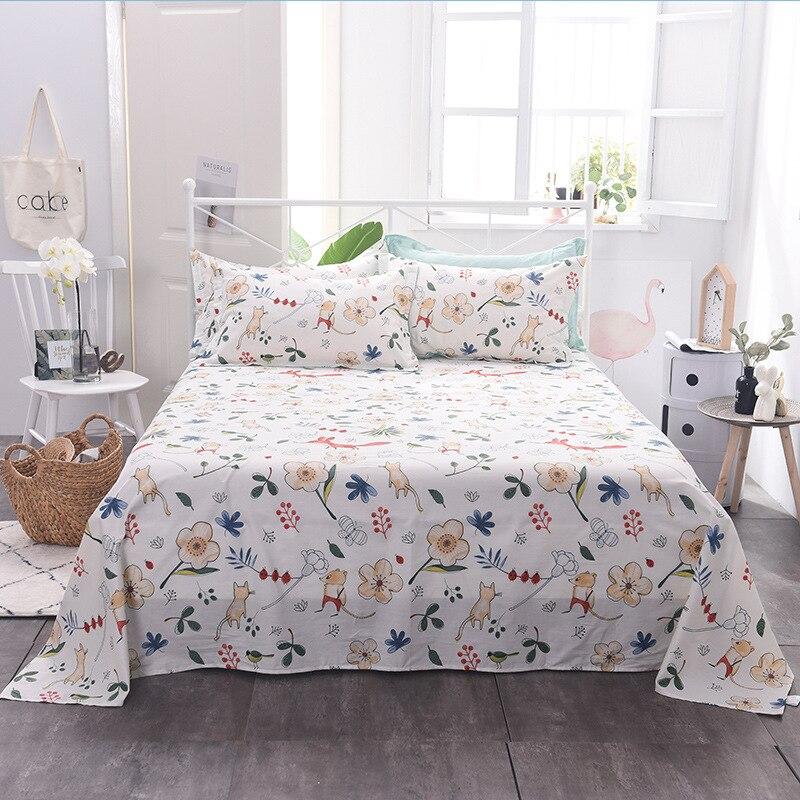 100% Cotton Bed Sheet Single Double Twin Queen King Size Bedsheet  Floral Cartoon Cotton Comfortable Flat Sheet 200x230cm