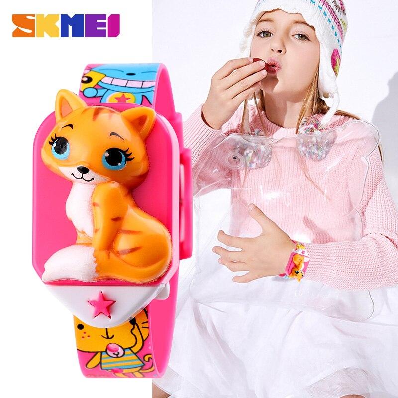 SKMEI Cute Cartoon Anime Cat Boys Girls Clock Kids Wristwatch Japan Electronic Movement Children's Watches reloj deportivo 1753