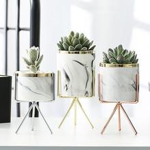 Vase de marbre en céramique or Rose argent   Vase de table en fer, motif de marbre, plante verte, Pot de fleur décoratif pour la maison, la bureau