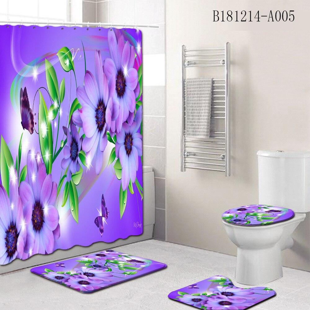 Conjunto de cortina para banheiro, conjunto de flores estampadas, à prova d água, tapete para pedaleiro, tampa do banheiro