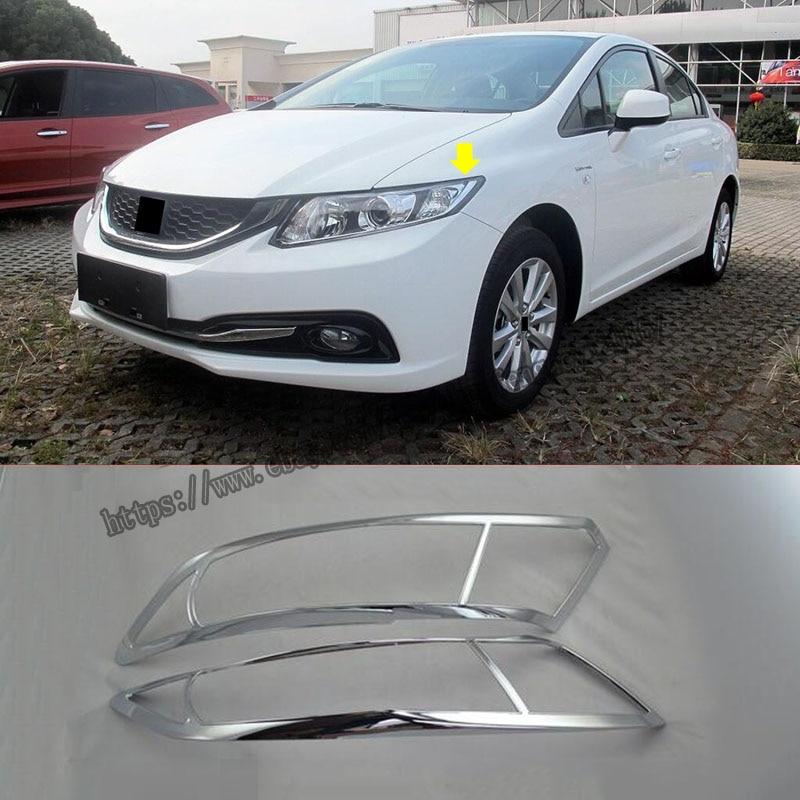 For Honda Civic 9th 2012 2013 2014 2015 2pcs ABS Chrome Front Headlight Head Light Lamp Cover Trim