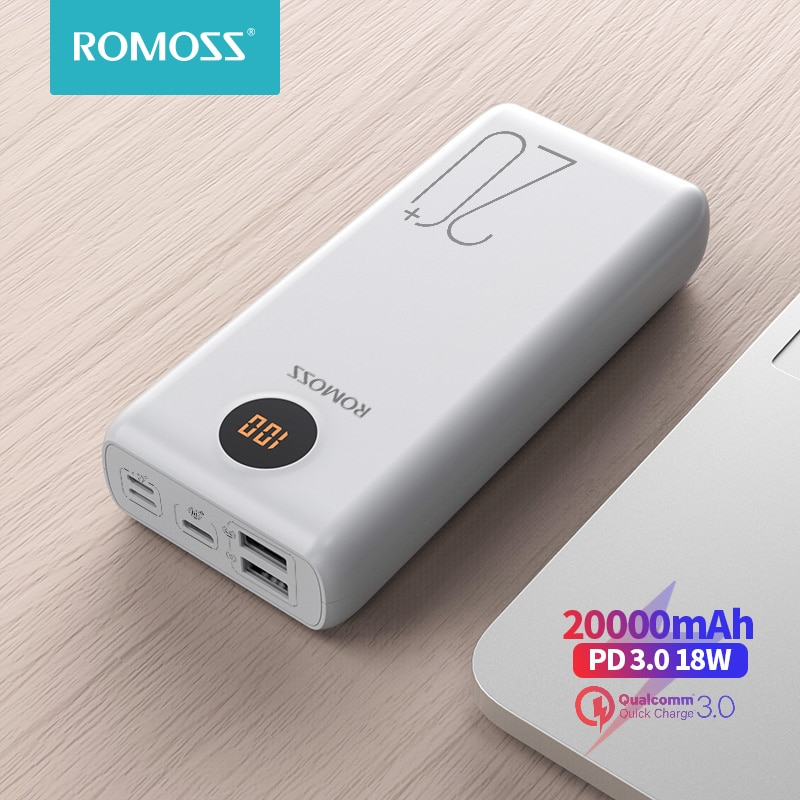 ROMOSS SW20PS + Banco de energía 20000 mAh USB C rápido 20000 mAh banco de energía portátil, cargador de batería externo para Xiaomi Mi iPhone Huawei