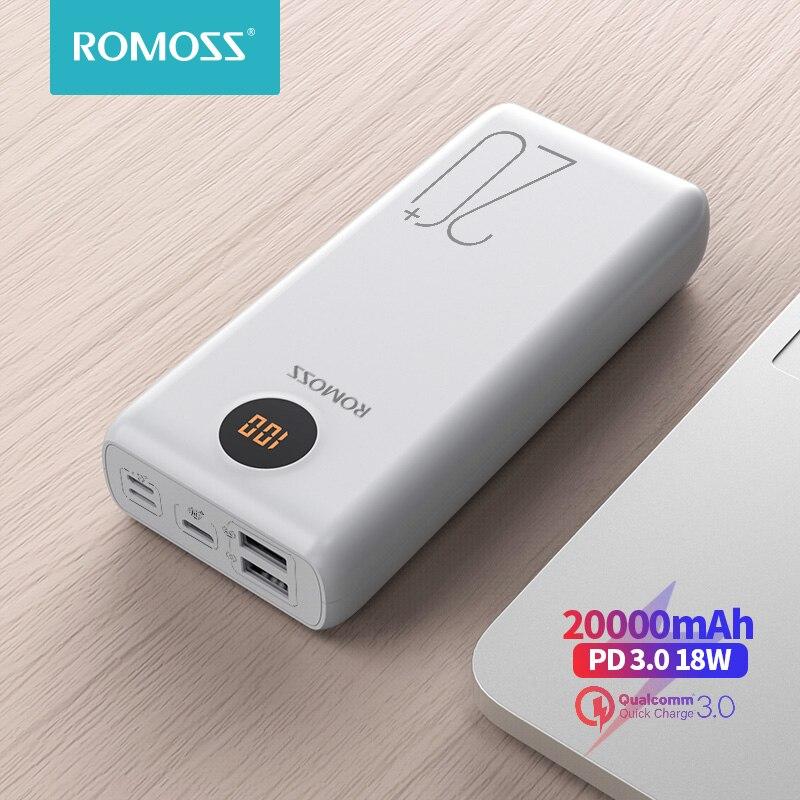 Romoss sw20ps + power bank 20000 mah usb c rápido 20000 mah powerbank portátil carregador de bateria externa para xiaomi mi iphone huawei