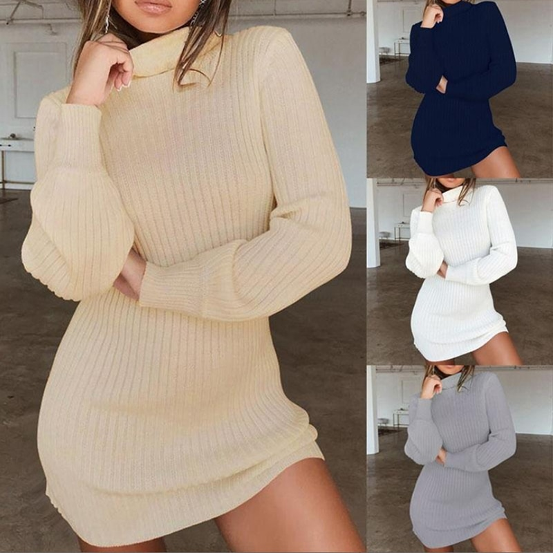 Las mujeres de cuello de punto lana sólido Mini vestidos de las señoras de moda básico largo de invierno de otoño cálido vestidos