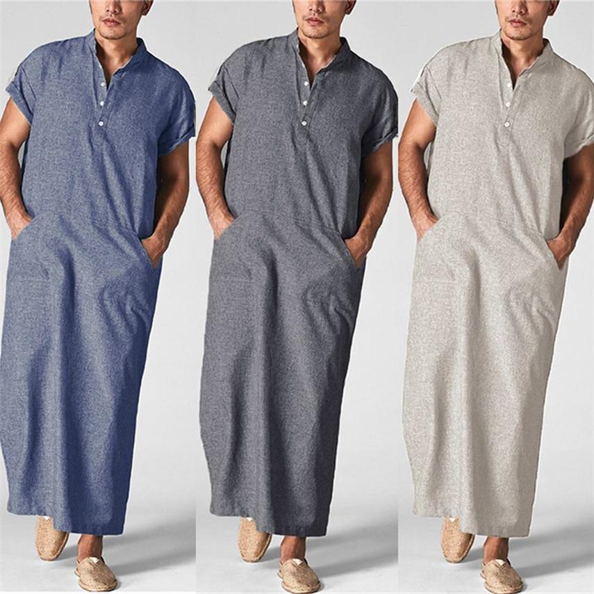 Jubba Thobe Men Muslim Long Robe Eid Mubarak Dubai Turkey Saudi Arabia Ramadam Prayer Karftan Abaya Dress Islamic Clothing