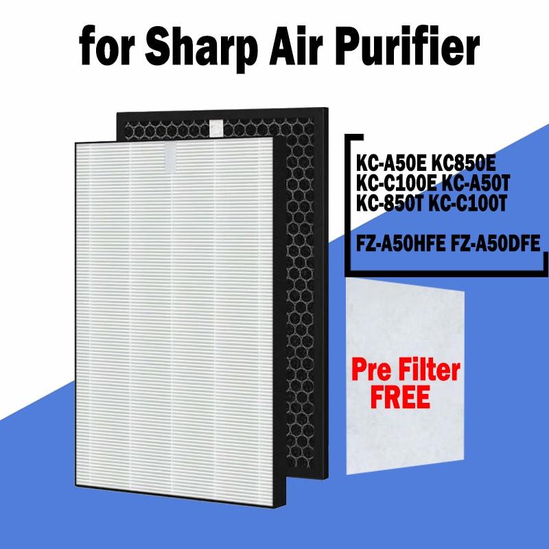 sharp air purifier filter kc a50jw kc a51r b hepa filter fz a51hfr actived carbon filter fz a51dfr filter for humidifier parts FZ-A50HFE FZ-A50DFE Replacement Air Purifier HEPA Carbon Filter for Sharp KC-A50E KC850E KC-C100E KC-A50T KC-850T KC-C100T