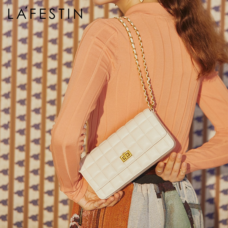 LAFESTIN Bag women 2020 new trendy casual double chain single shoulder messenger bag temperament diamond 2021 small square bag