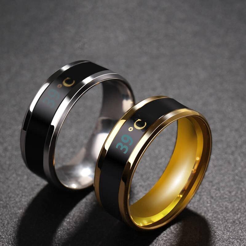 Anel de dedo de teste de temperatura em tempo real de exibição de moda de aço inoxidável do anel de temperatura do corpo do sensor inteligente