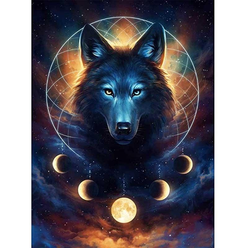 5D DIY بها بنفسك الماس اللوحة الذئب الملك الدم القمر كامل دائرة الماس الماس gem بها بنفسك جوهرة الحرف لغز المطرزة جدار اللوحة مجوهرات