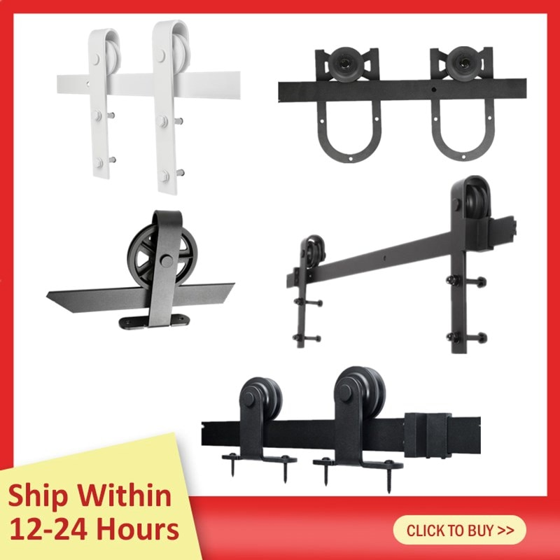200CM Barn Door Hanging Rail All 8 Kinds Rustic Black Sliding Hardware Cabinet Wood Door Sliding Track Kit Ship From France HWC
