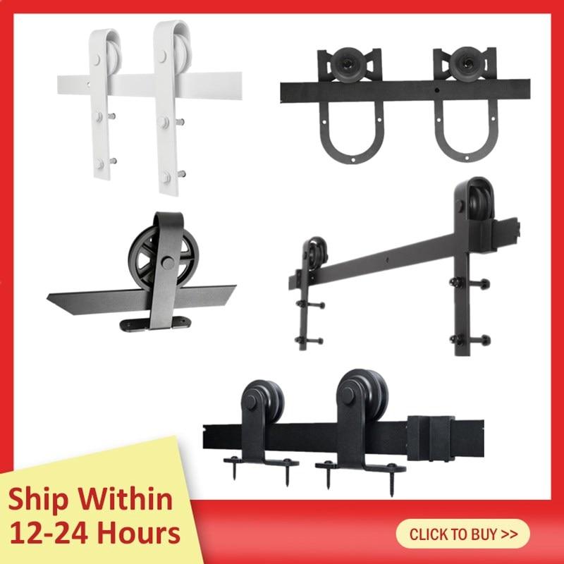 200CM Barn Door Hanging Rail All 8 Kinds Rustic Black Sliding Hardware Cabinet Wood Door Sliding Track Kit Ship From France HWC