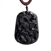 hot selling natural high quality obsidian 12 zodiac dragon mascot pendant necklace fashion boutique jewelry transfer pendant nec