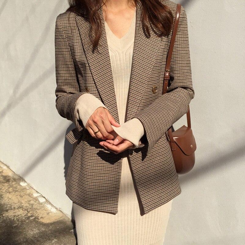 Duplo breasted escritório senhoras blazer xadrez manga longa solta houndstooth terno casaco jaqueta feminina blazers feminino