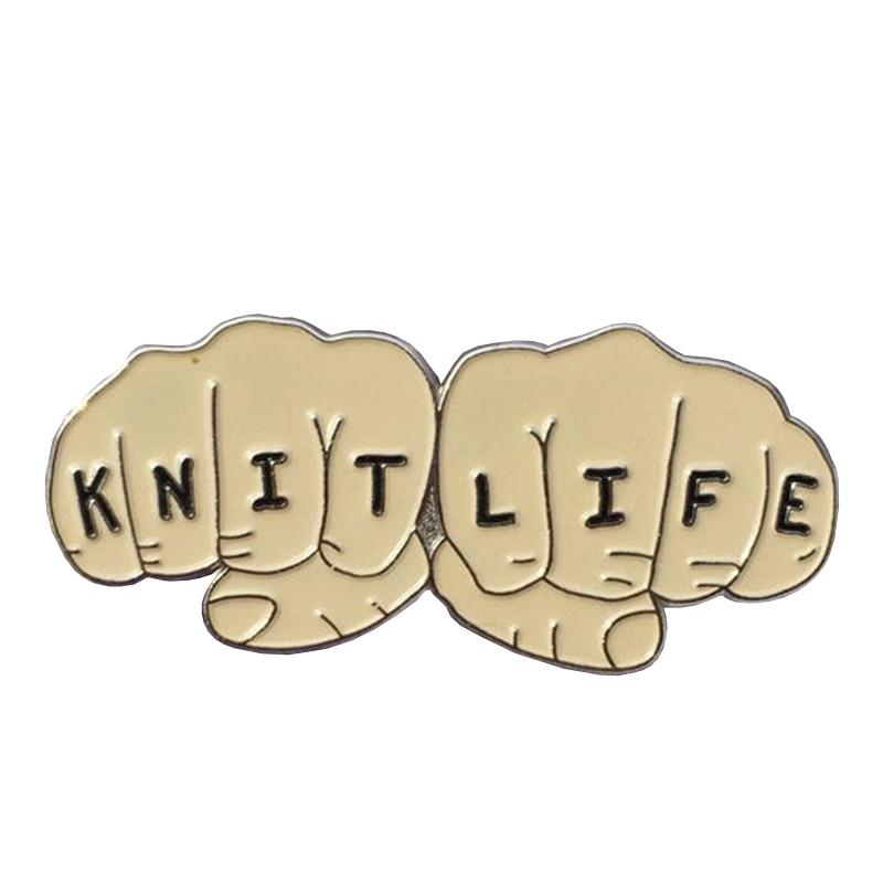 knitting pin badge