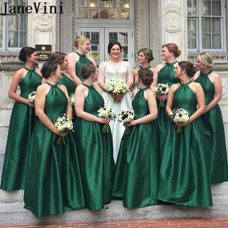 Vestido de dama de honor de color verde, largo, Halter, largo hasta...
