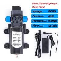 12v 60w dc micro electric diaphragm water pump automatic switch 5lmin high pressure car washing spray water pump 5lmin 0 8mpa